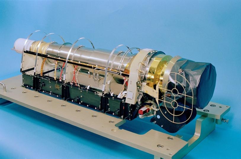Le senseur RTOF (Reflectron Type Time Of Flight Mass Spectrometer) de ROSINA. Ce spectromètre de masse fonctionne entre 1 et + de 300 uma et il est optimisé pour avoir une très bonne sensibilité sur une large gamme de masse. Crédits : Université...